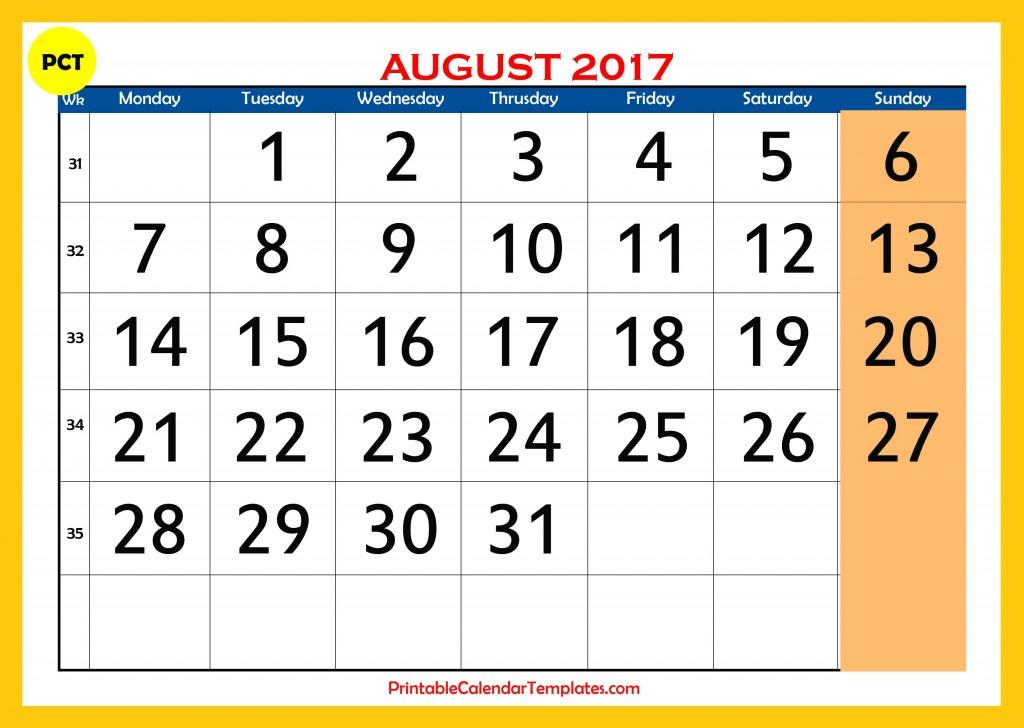 August 2017 Printable calendar