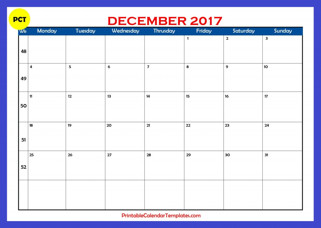 Printable calendar for December 2017