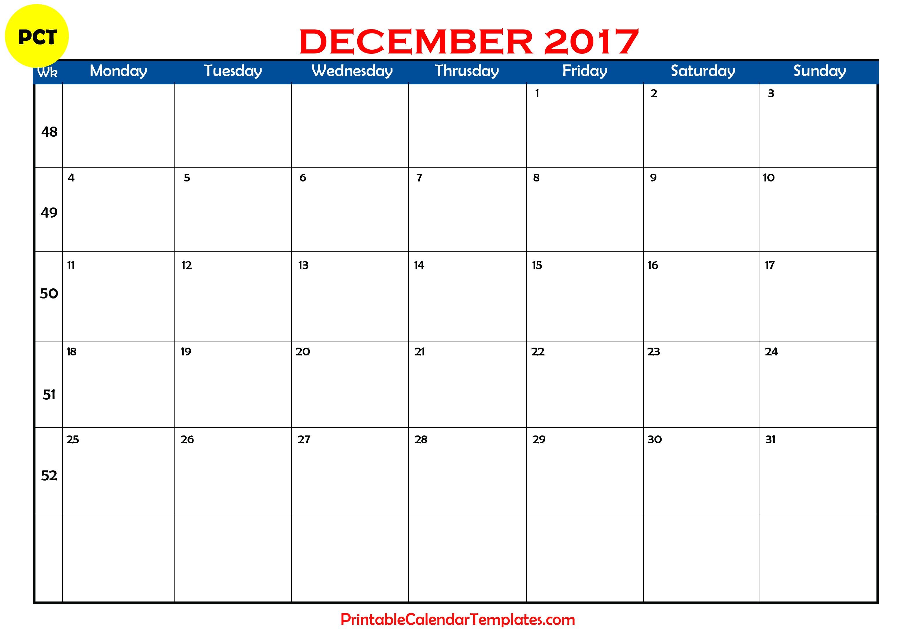 December 2017 calendar printable | Printable Calendar Templates