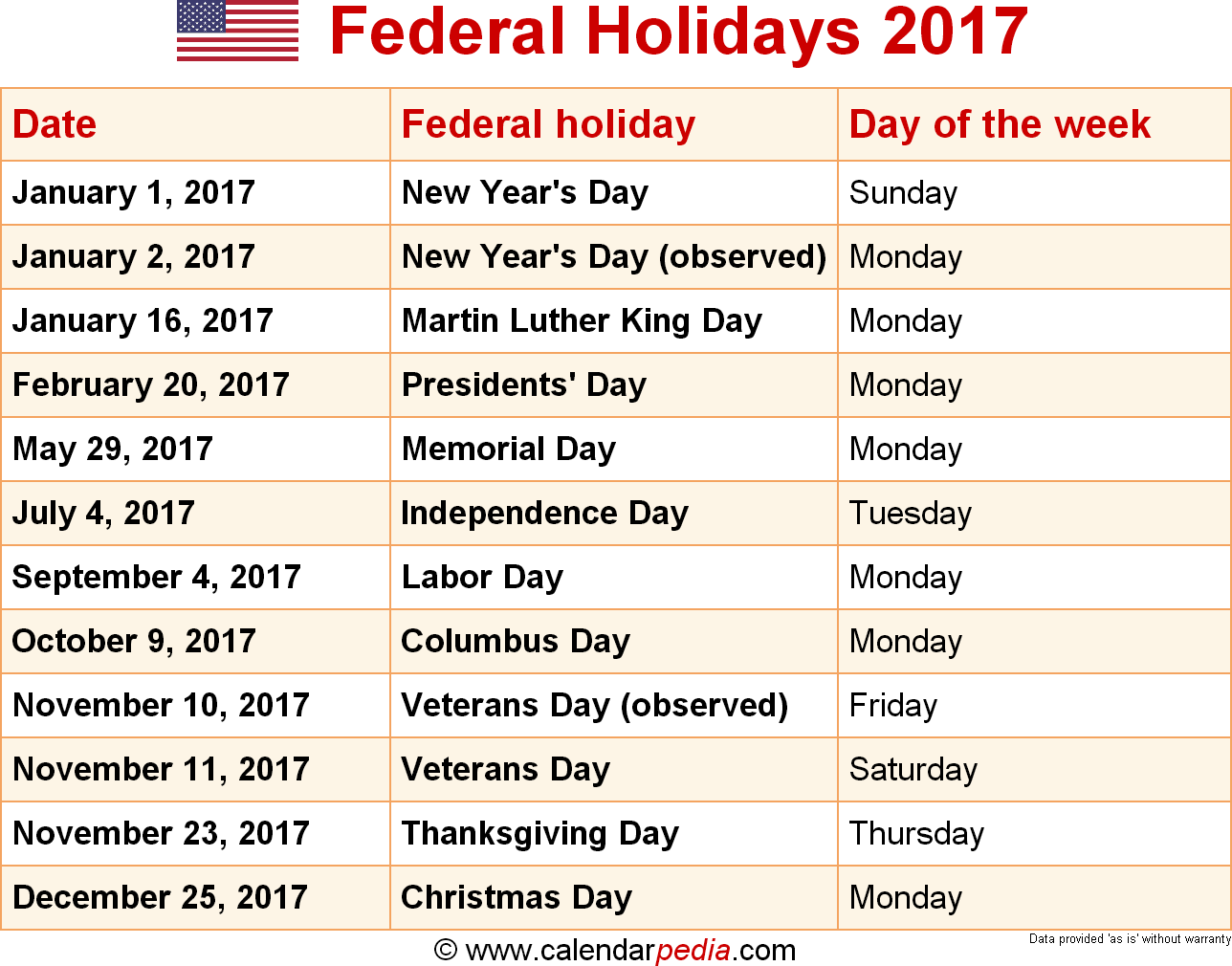 2017 Calendar USA Holidays