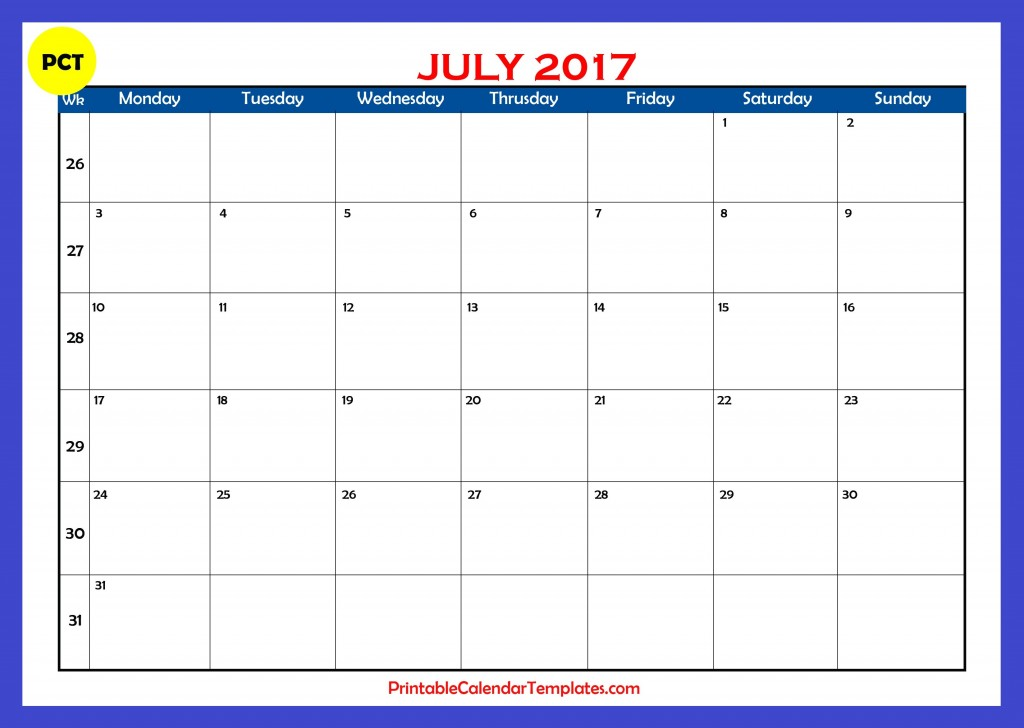 july 2017 Printable calendar
