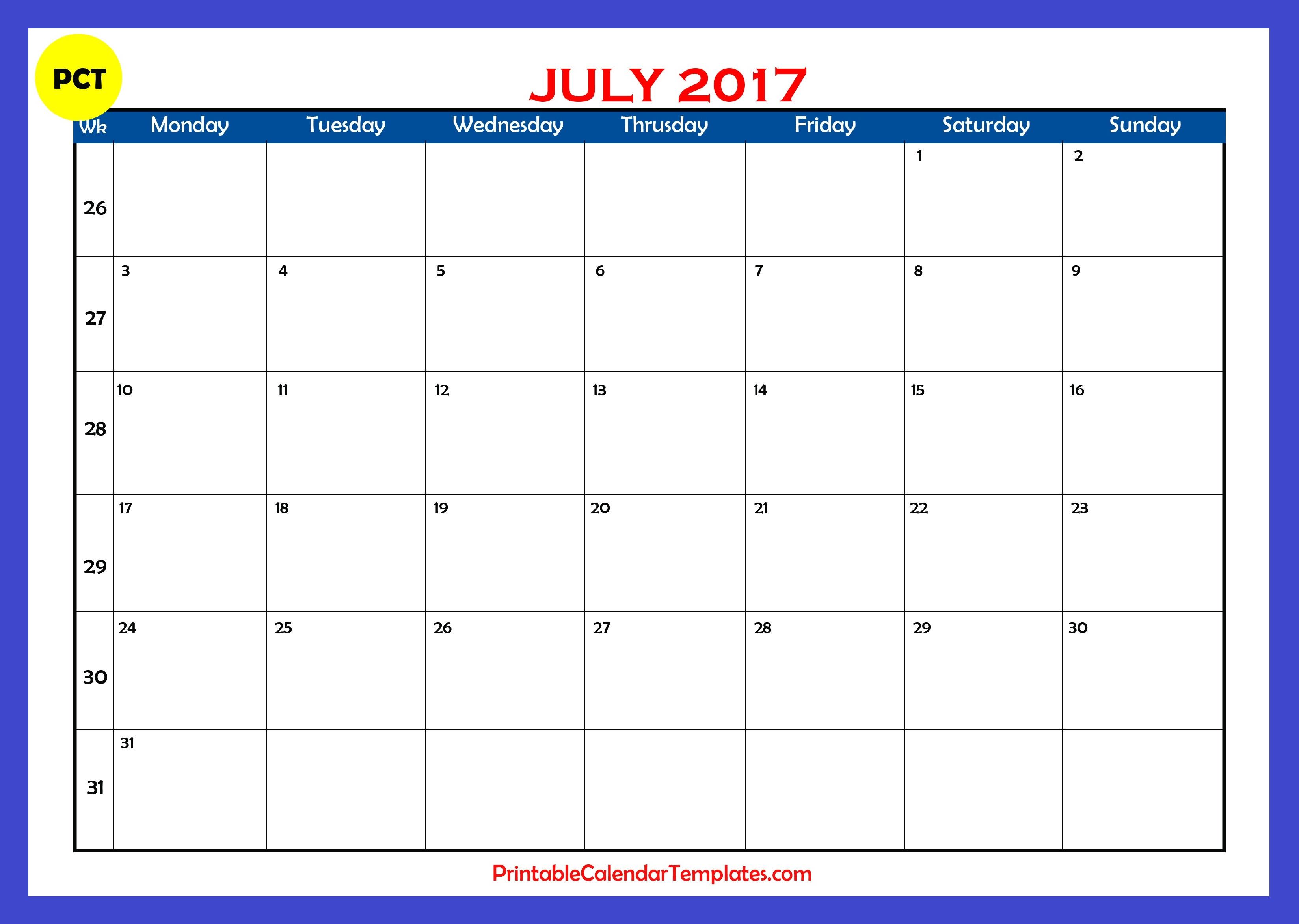 Blank Calendar July Printable : July calendar printable templates