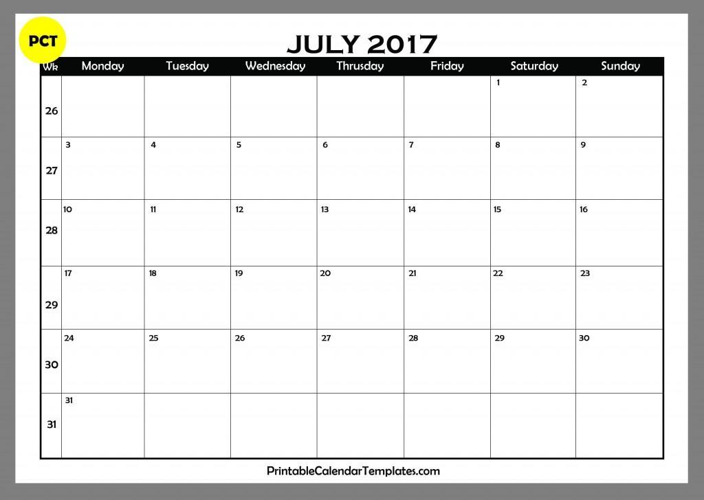 july 2017 Blank Calendar PDF