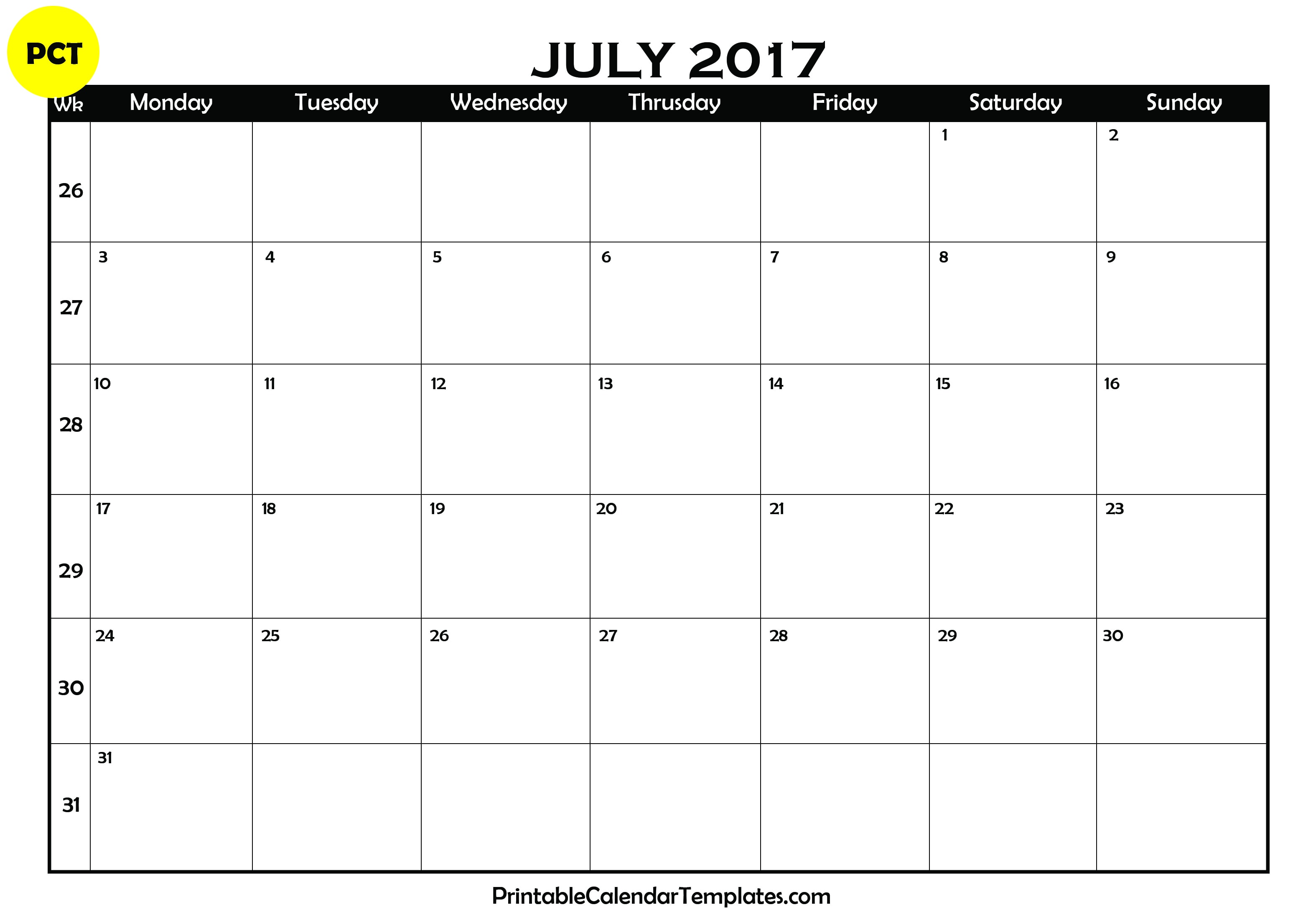 Blank Calendar 2017 : July calendar printable templates