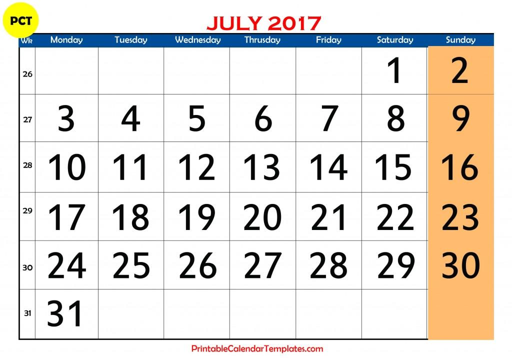 july 2017 calendar templates