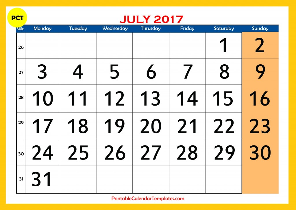 Printable calendar for july 2017