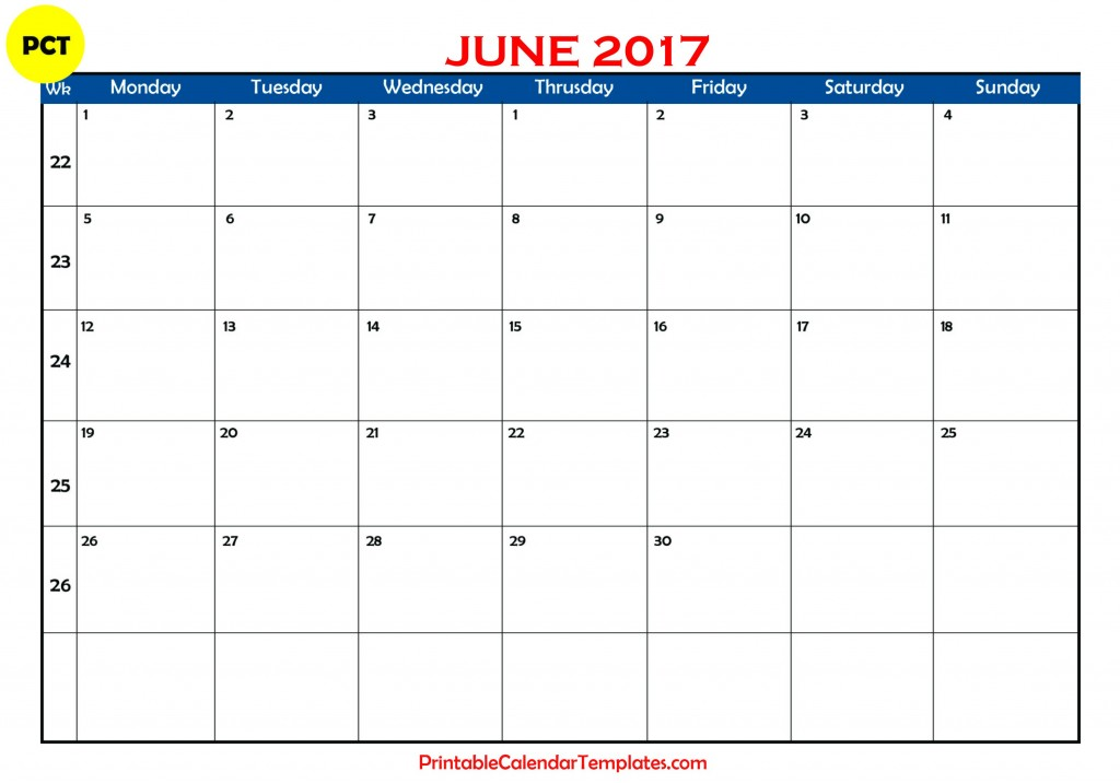 Free june 2017 Printable calendar