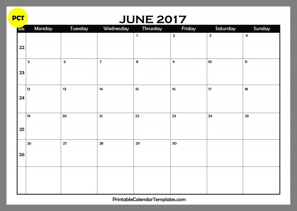 june 2017 Blank Calendar PDF
