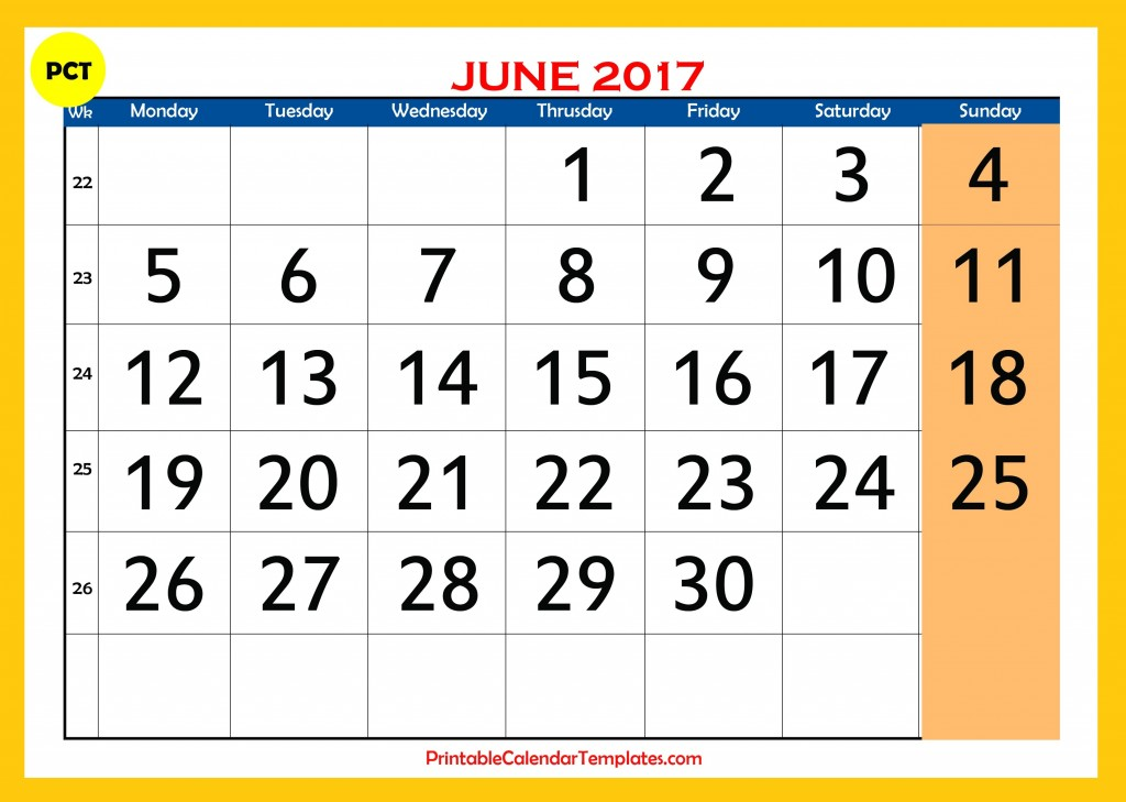 Printable calendar for june 2017