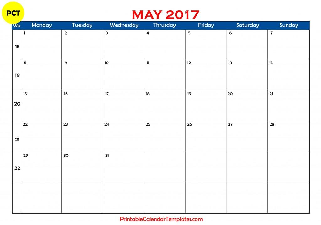 Free may 2017 Printable calendar