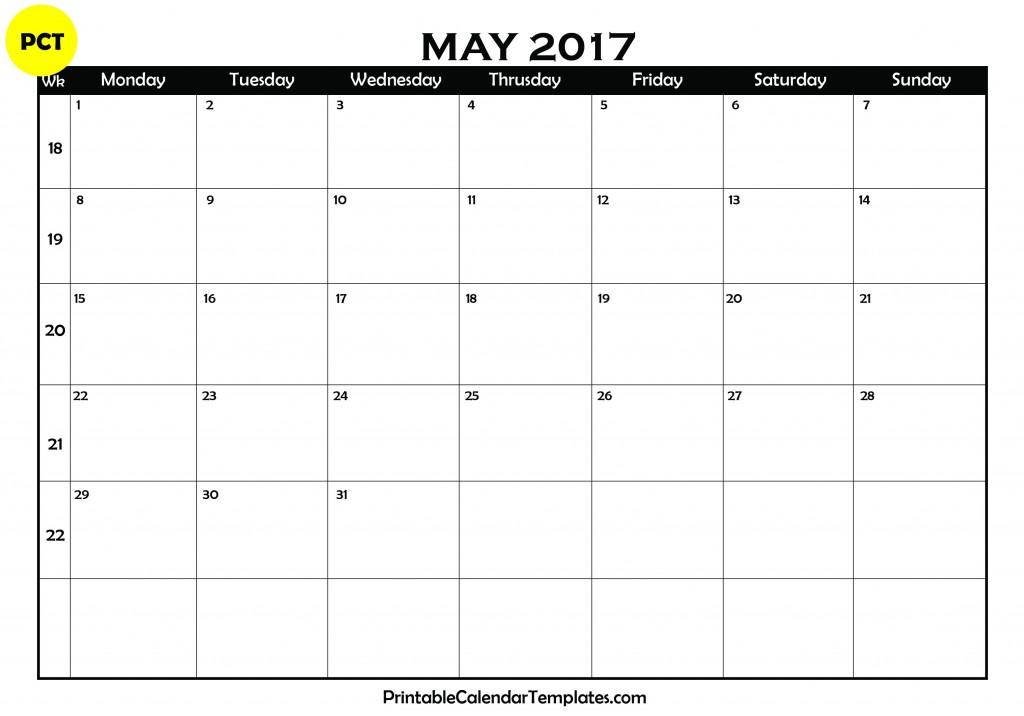 may 2017 Blank Calendar