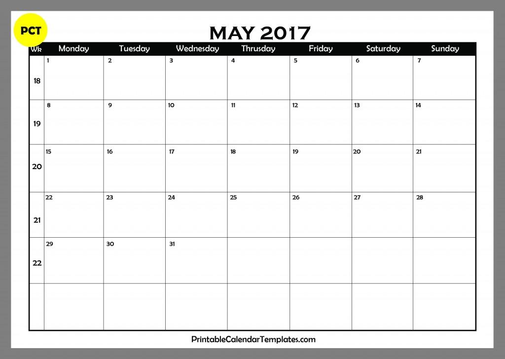 may 2017 Blank Calendar PDF