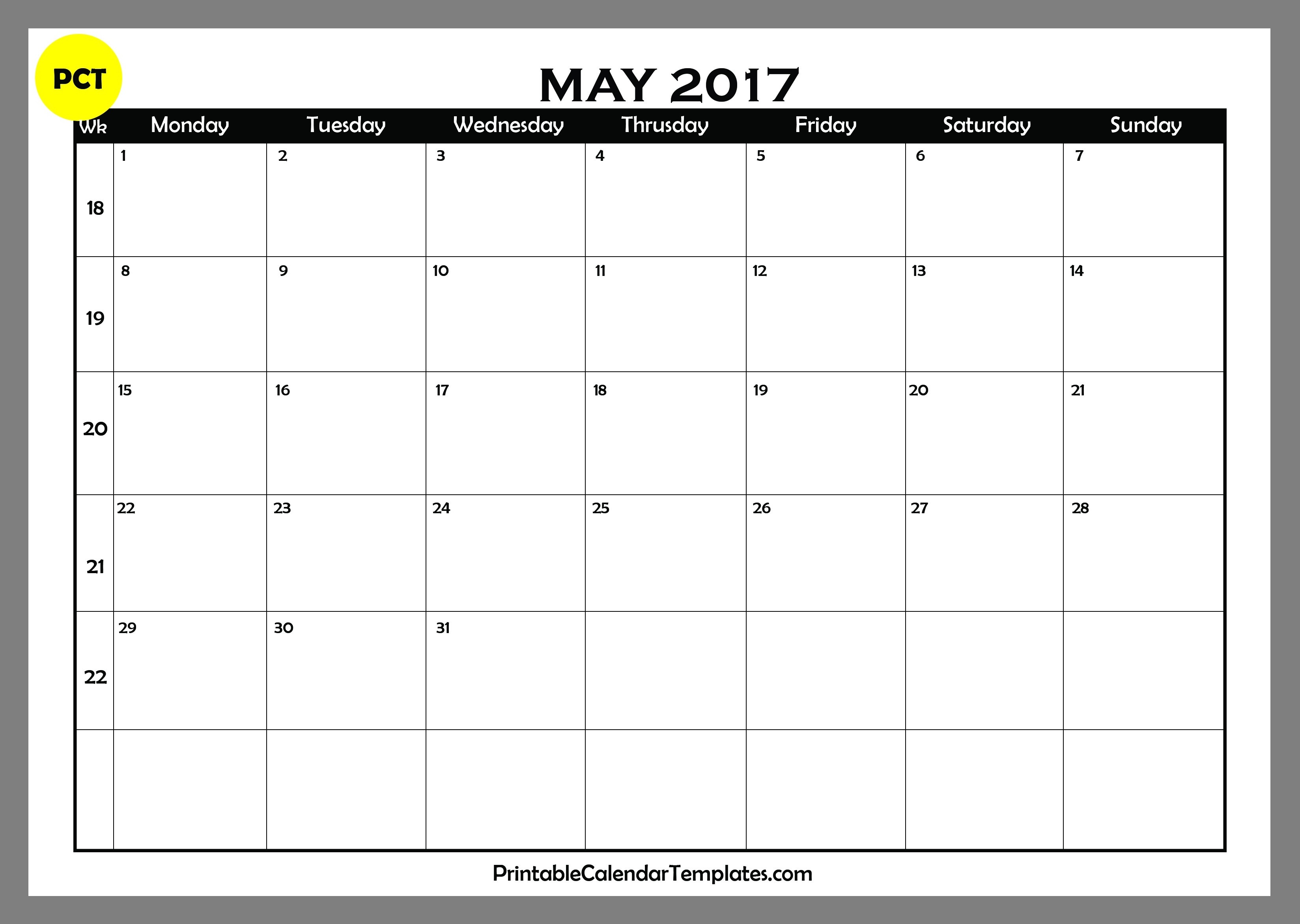 may 2017 calendar printable printable calendar templates. Black Bedroom Furniture Sets. Home Design Ideas