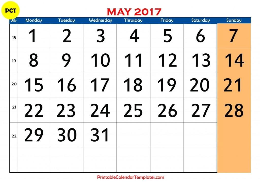 may 2017 Printable calendar PDF