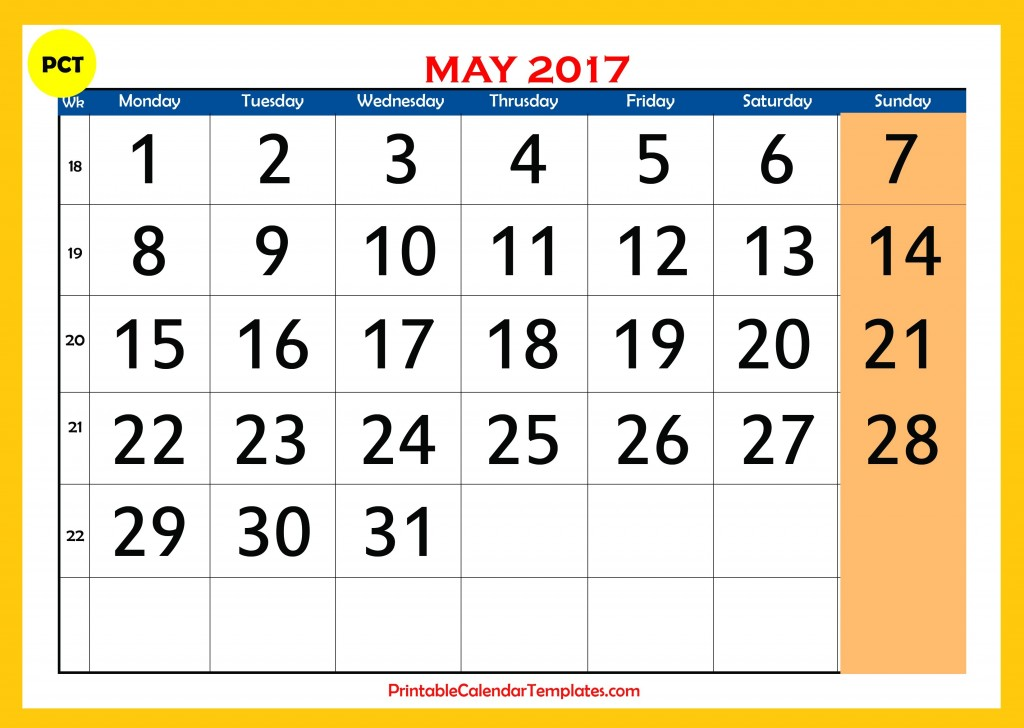 Printable calendar for may 2017