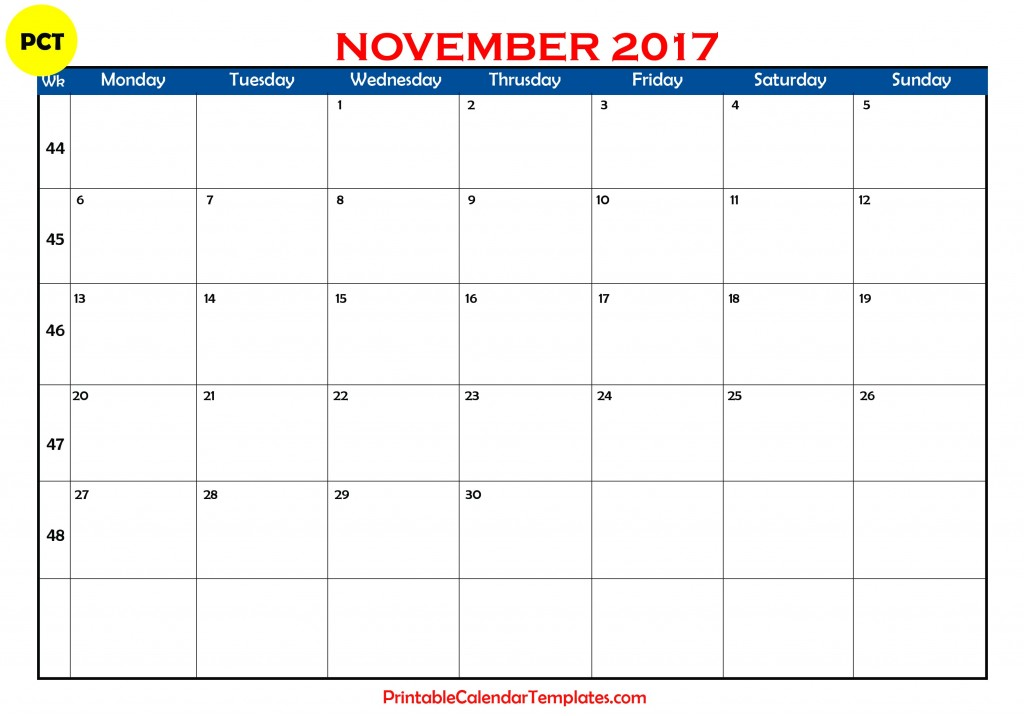 Printable calendar for November 2017