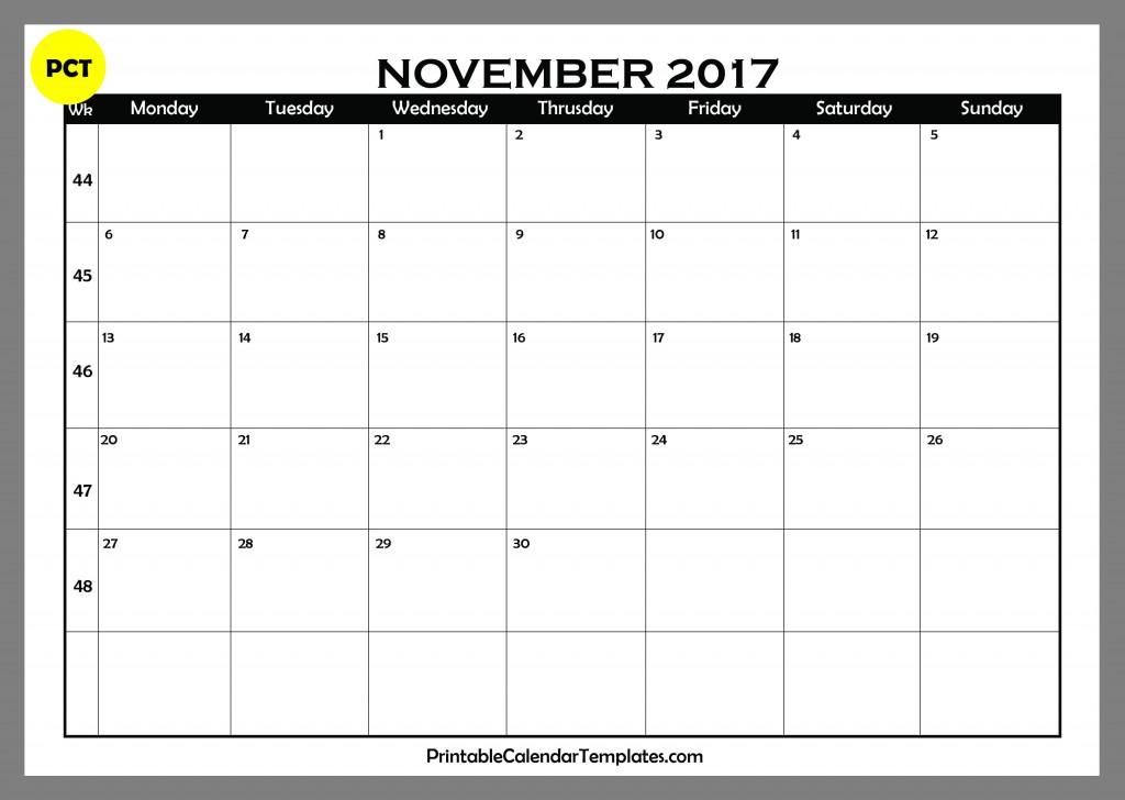 November 2017 Blank Calendar