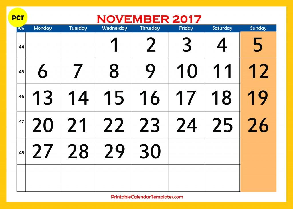 November 2017 calendar templates