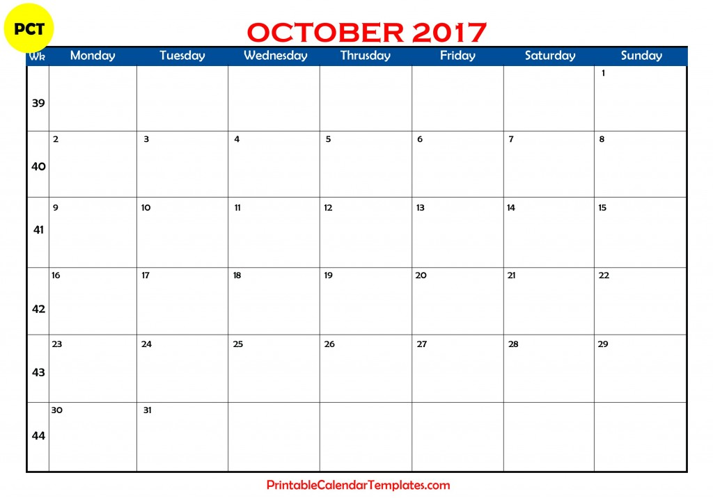 october 2017 calendar, october 2017 printable calendar, october calendar 2017, october 2017 calendar with holidays