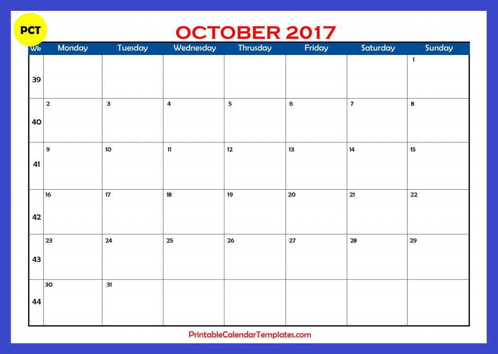 Printable calendar for October 2017