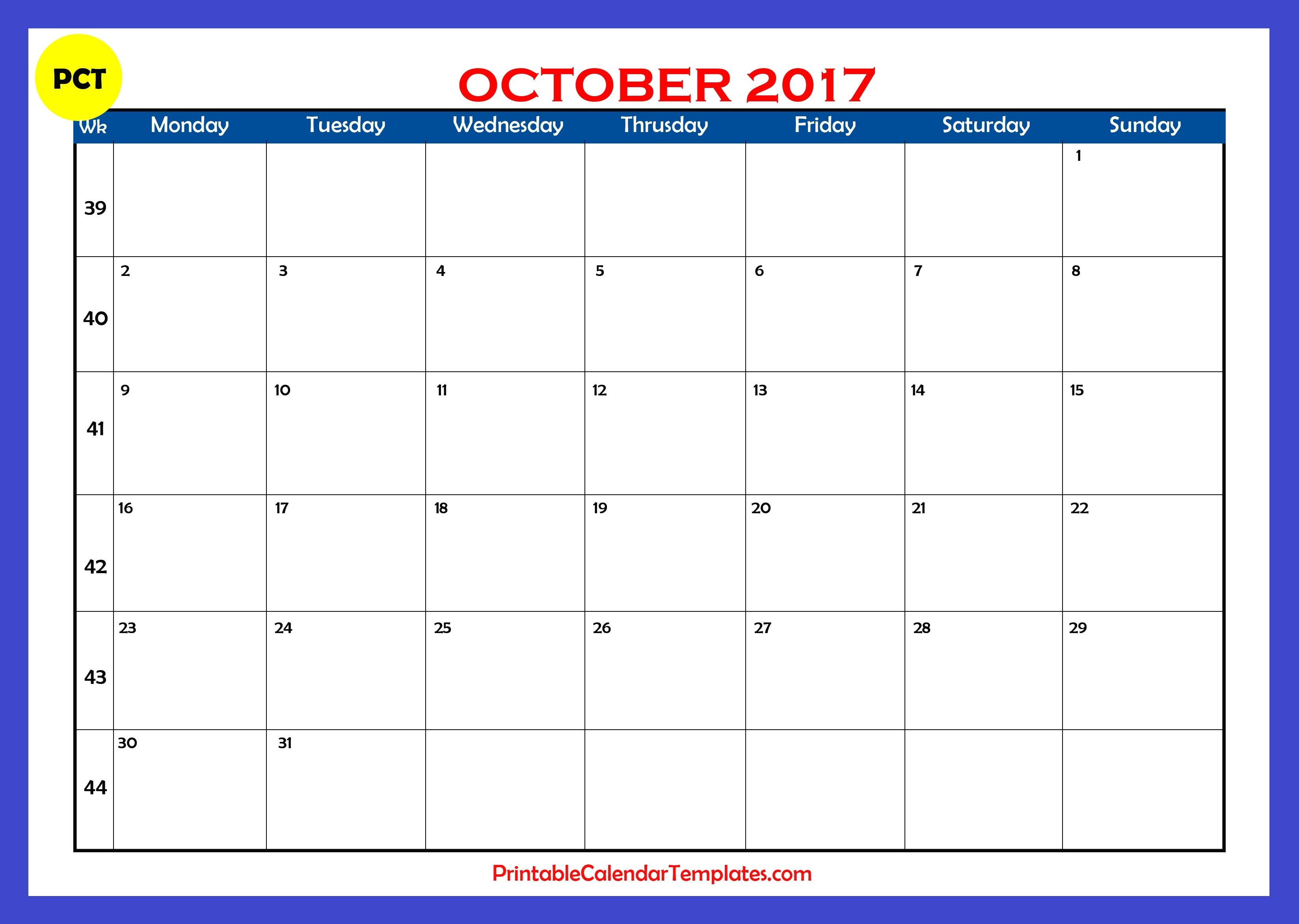 october 2017 calendar, october calendar 2017, october 2017 calendar printable, october calendar 2017 printable