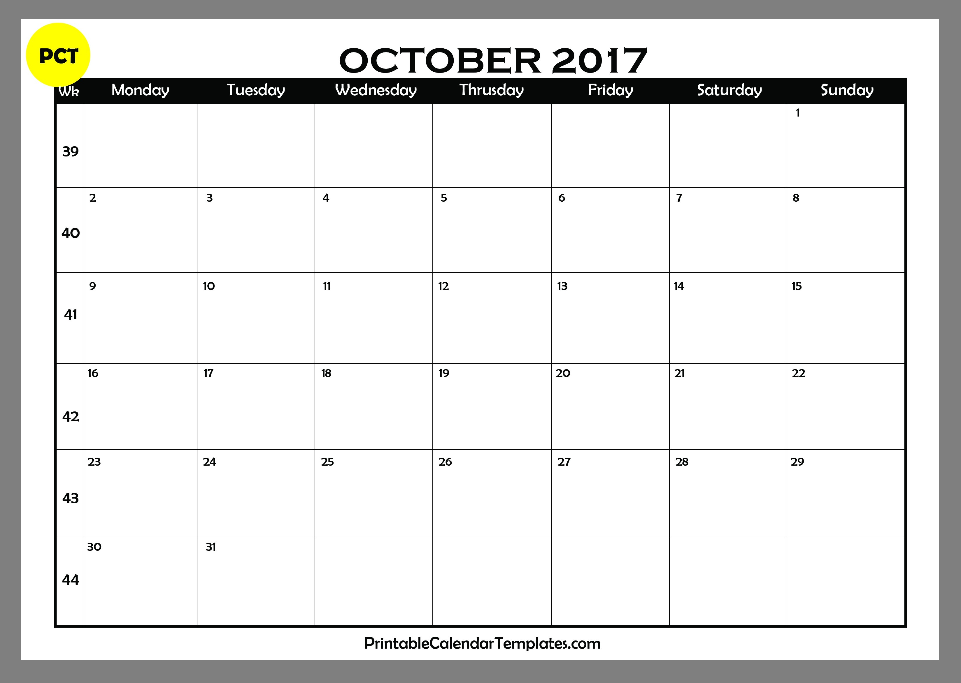 October 2017 calendar printable | Printable Calendar Templates