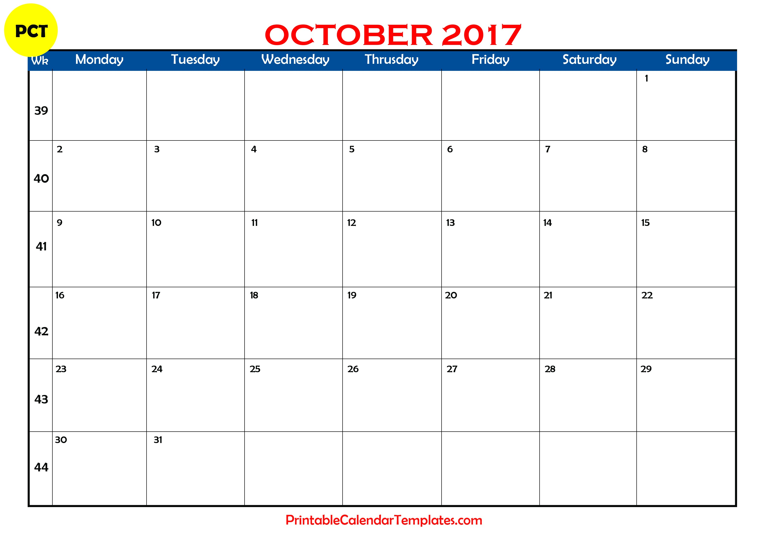 October 2017 Calendar Template printable pdf download