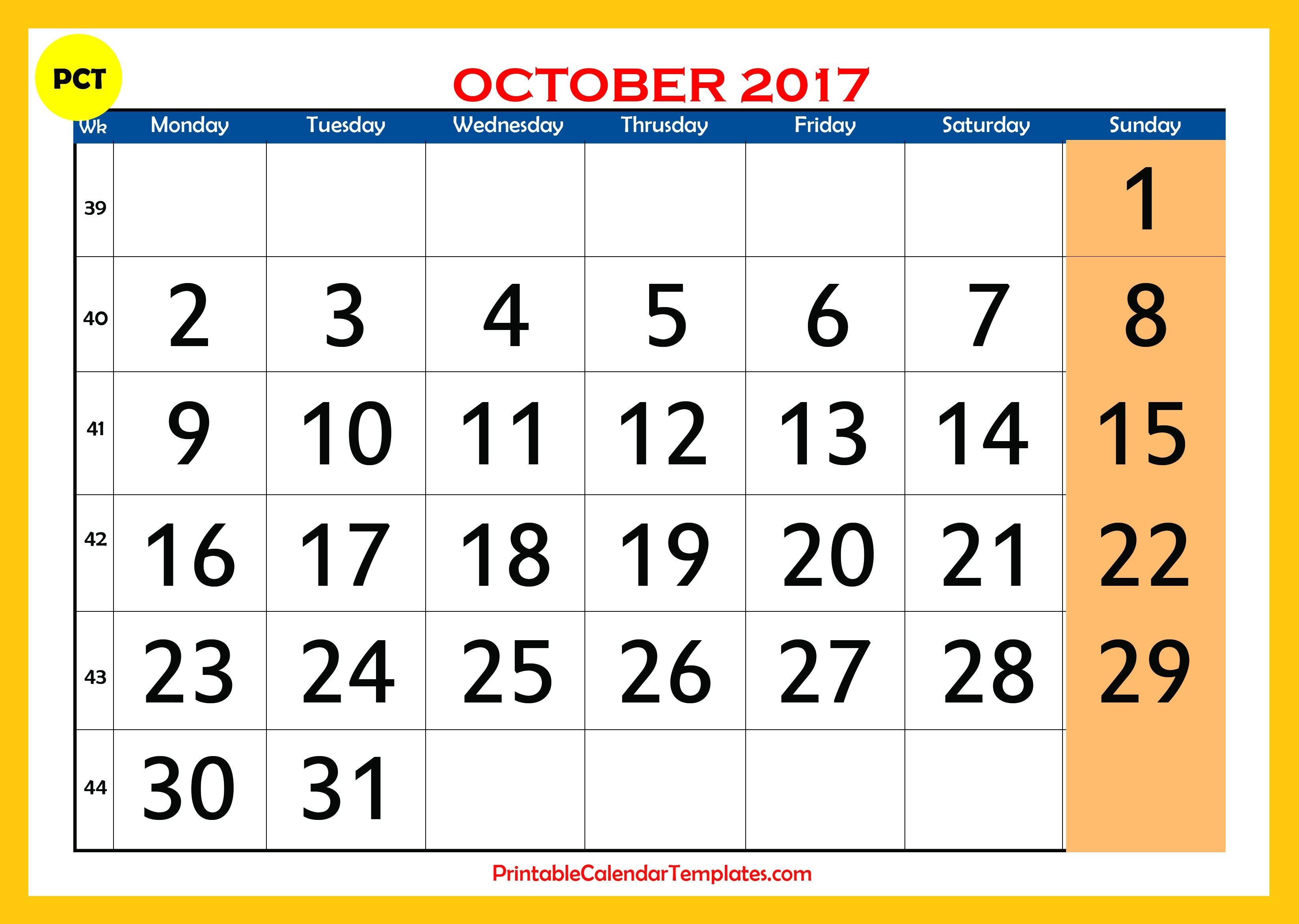 Blank October 2017 Calendar | monthly calendar 2017