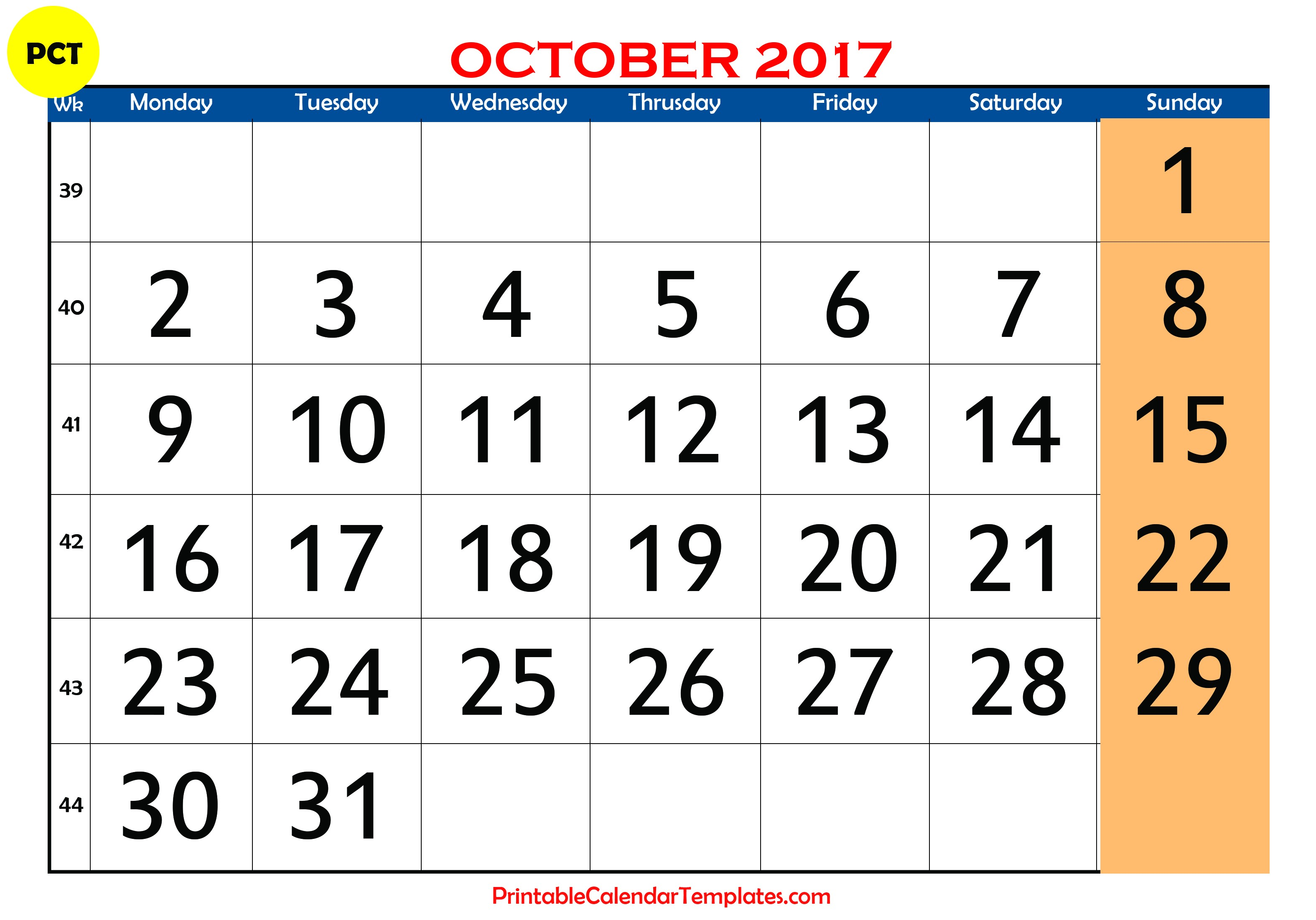 October 2017 Calendar Template Printable