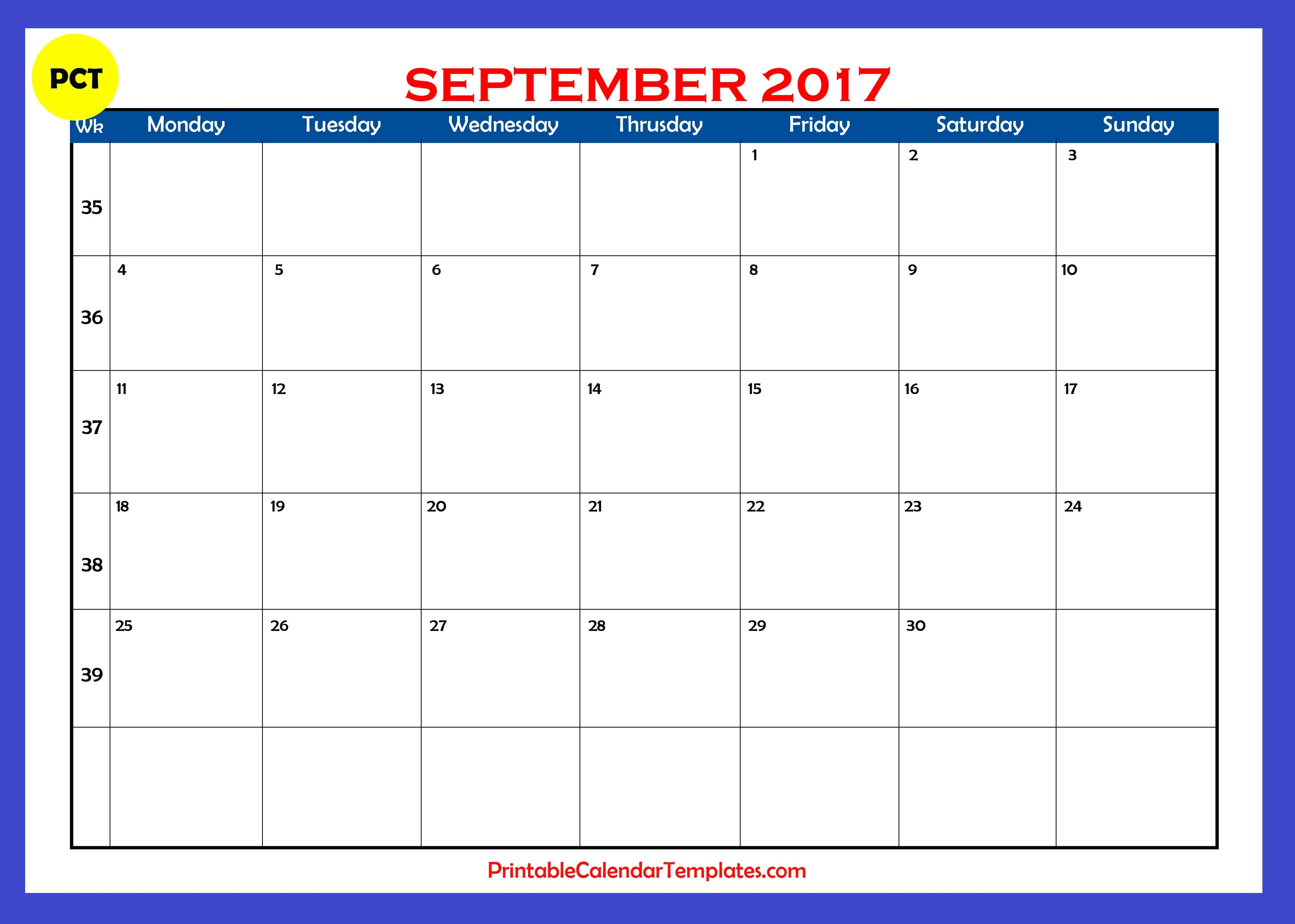 September 2017 Calendar printable | Printable Calendar Templates