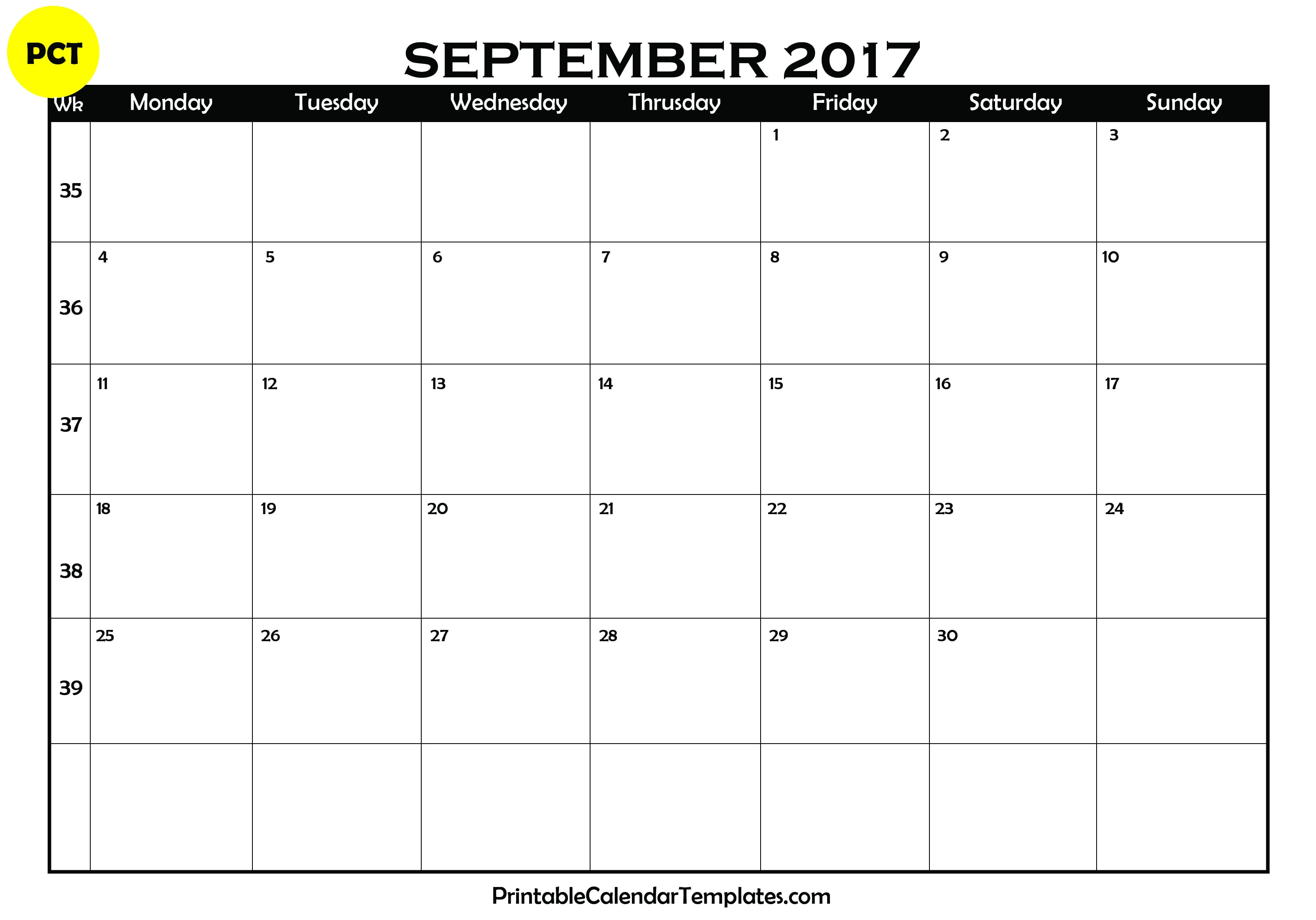 Calendar April To September : September calendar printable