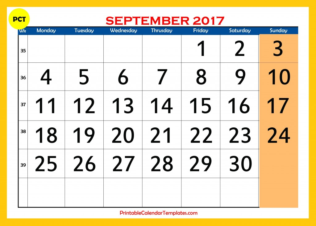 Printable calendar for September 2017