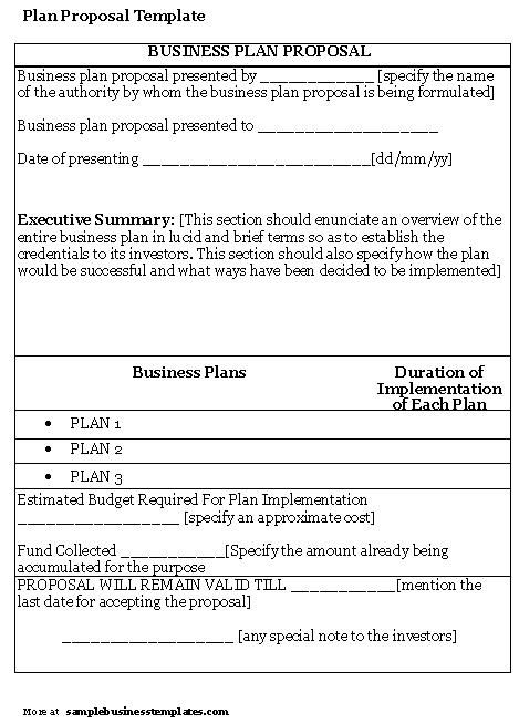 Business Plan Template  Proposal Sample  Printable Calendar