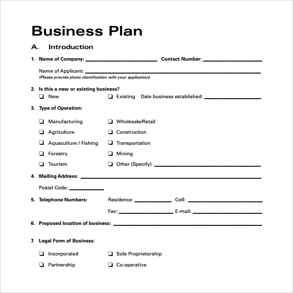 Free example of business plan summary
