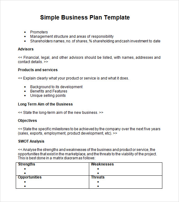 Simple business plan download
