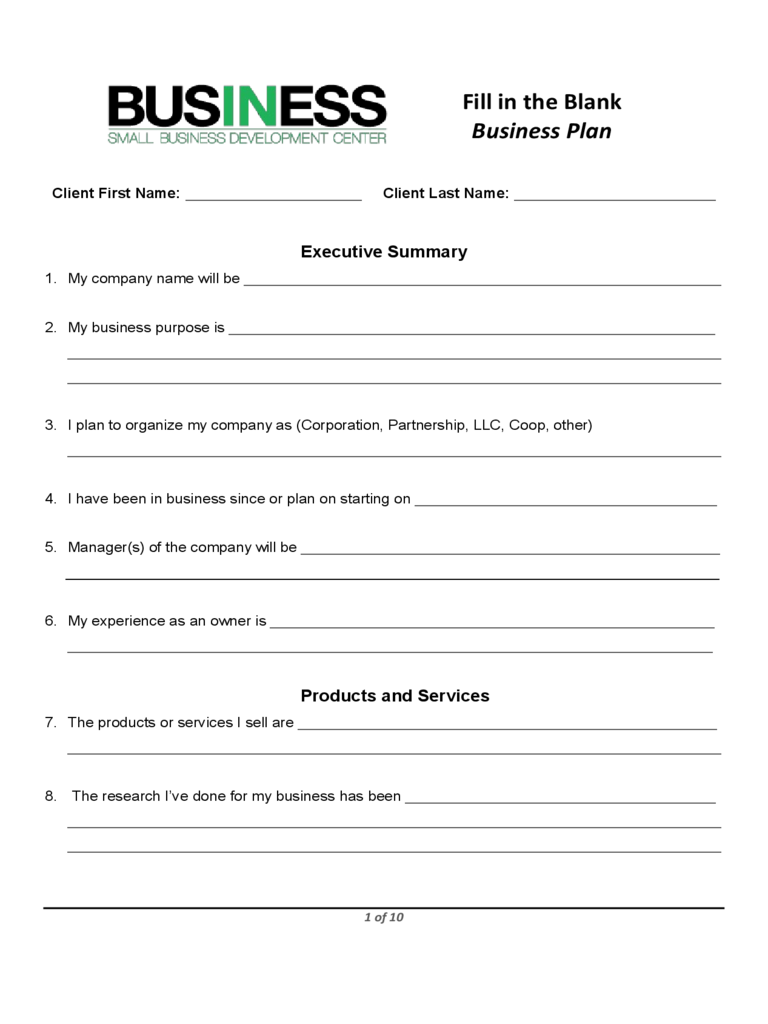 Business plan template proposal sample printable for Fnb business plan template