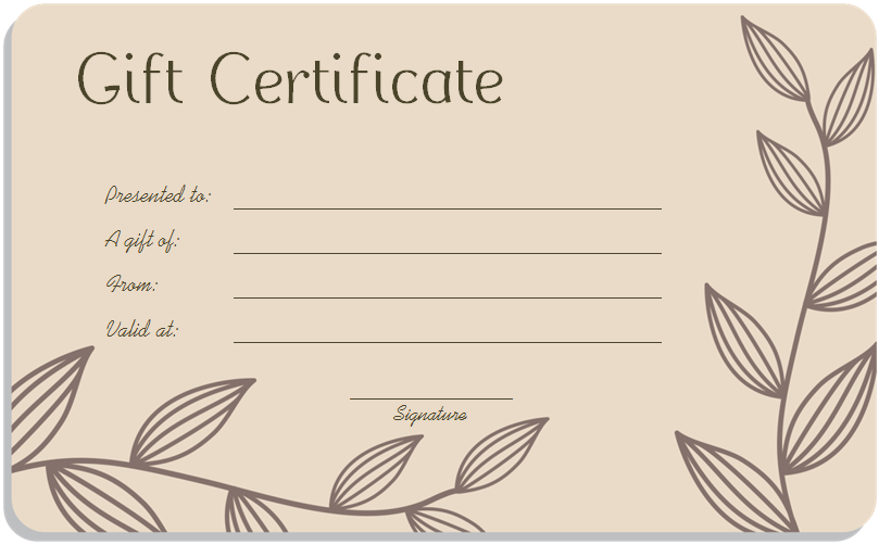 Blank gift certificate template word printable calendar for Avon gift certificates templates free
