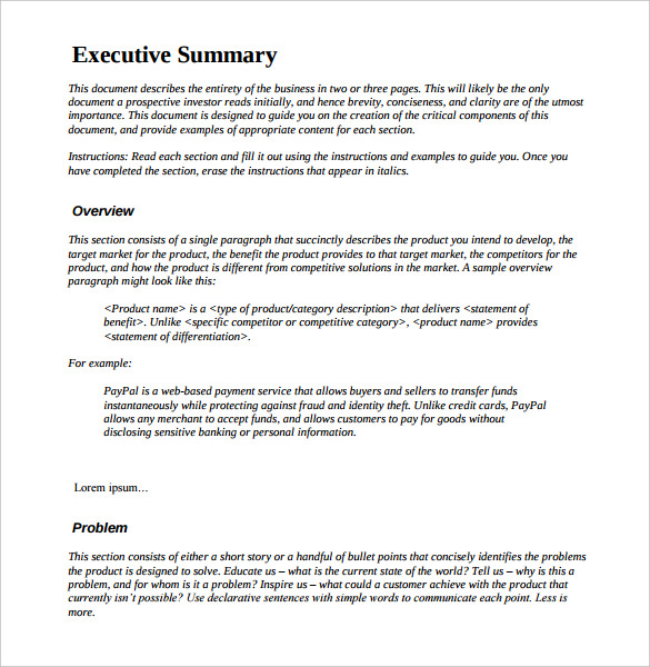 Management Executive Summary Examples – Example Executive Summary Format