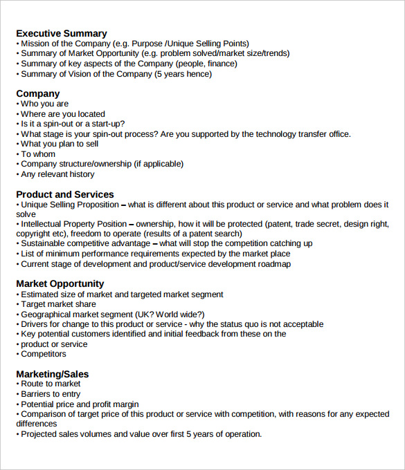 management executive summary examples