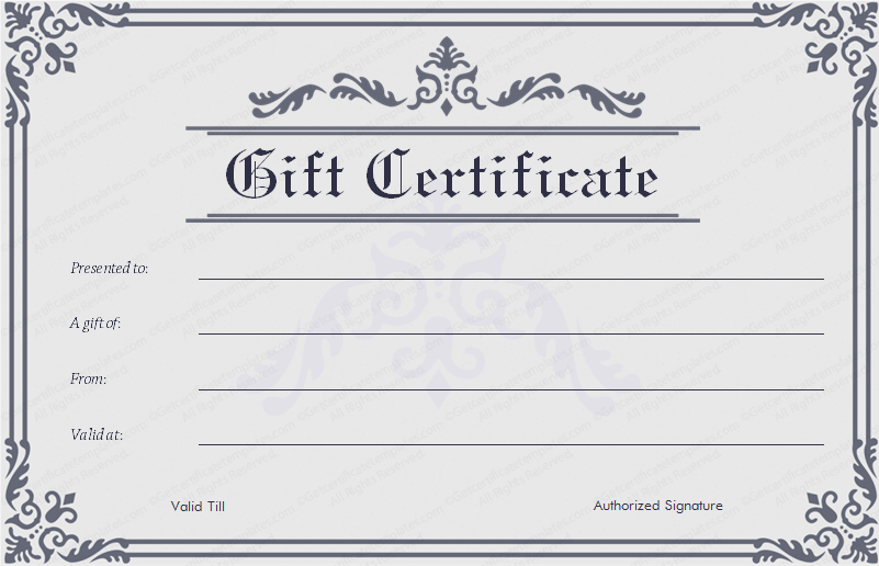 Blank gift certificate template word printable calendar for Gift certificate example templates