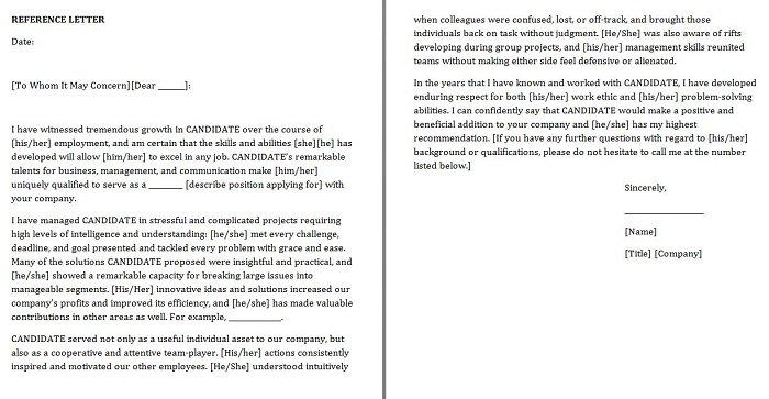 Reference-letter for job