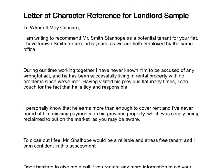 Professional character reference letter printable for Reference letter from landlord template