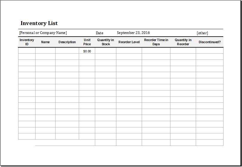 Rare image throughout printable inventory list template