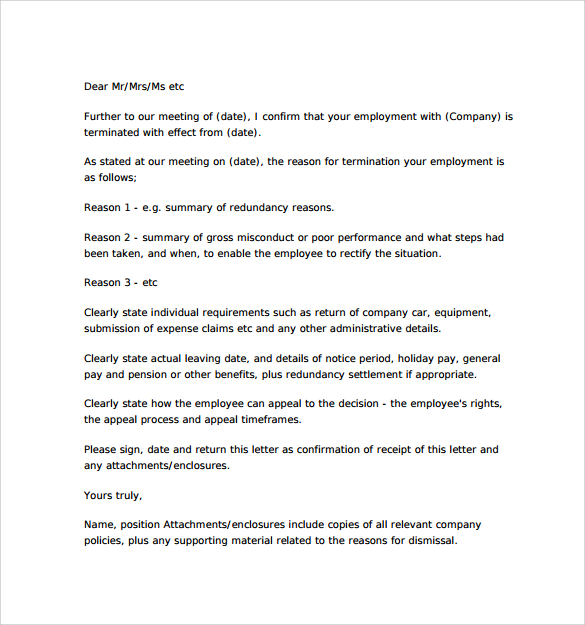 Free Professional Termination Letter Samples  Formats For