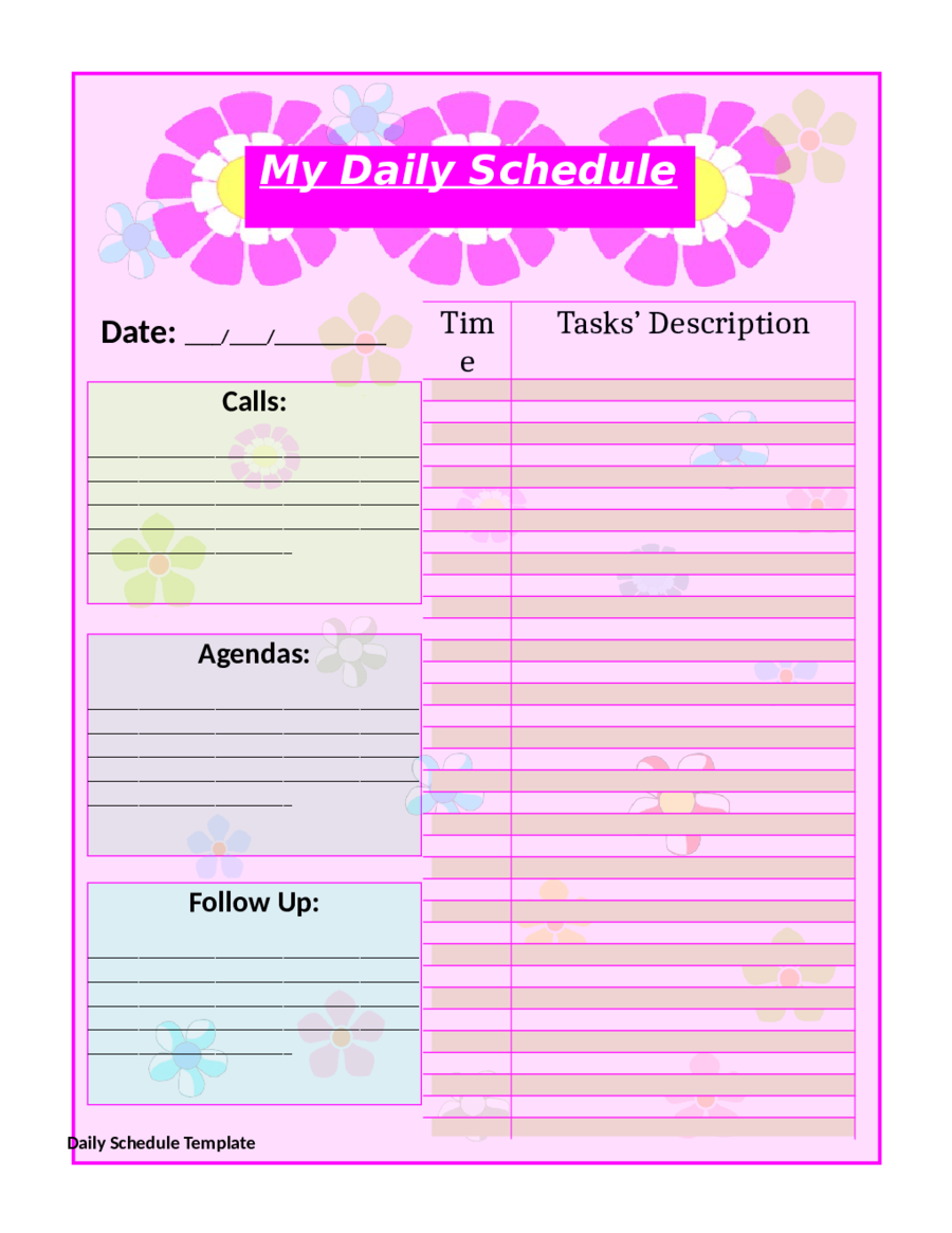 10 free printable daily planner templates printable for Free planner templates