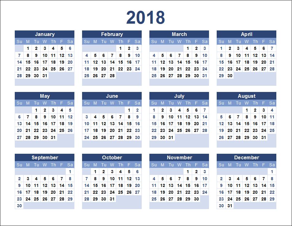 Yearly 2018 Calendar Printable