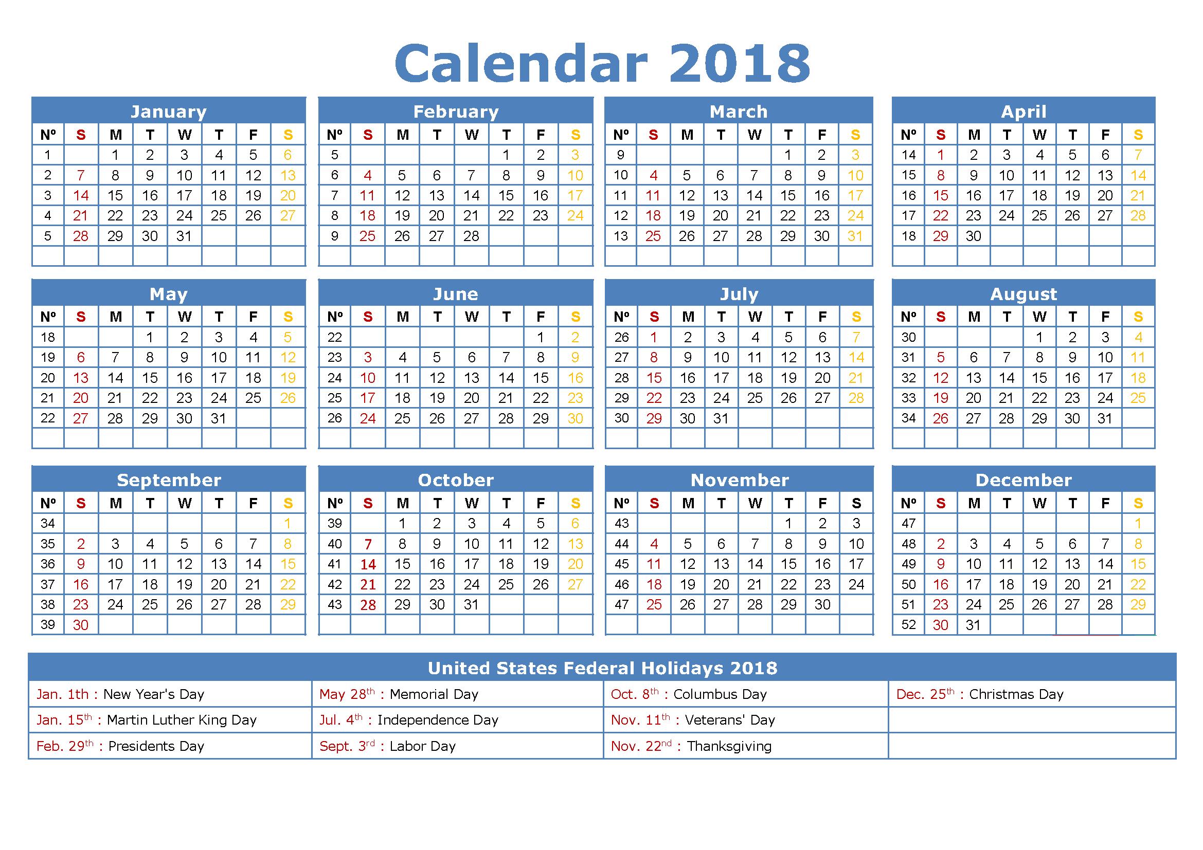 2018 Calendar with Holidays