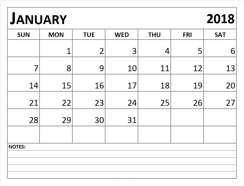 January-2018-Calendar-with-Notes