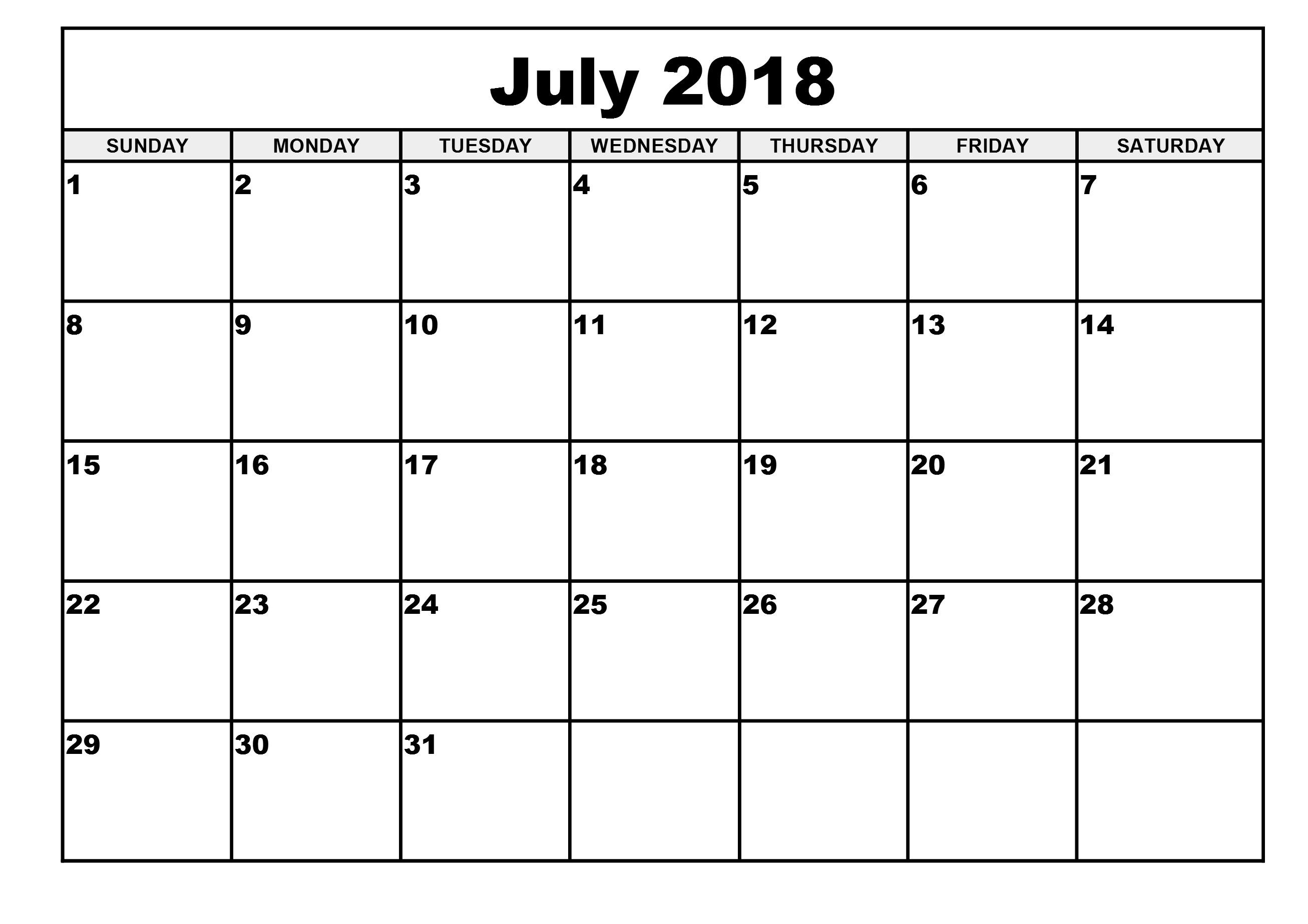 Free Printable Calendar 2018 Template | Printable Calendar ...