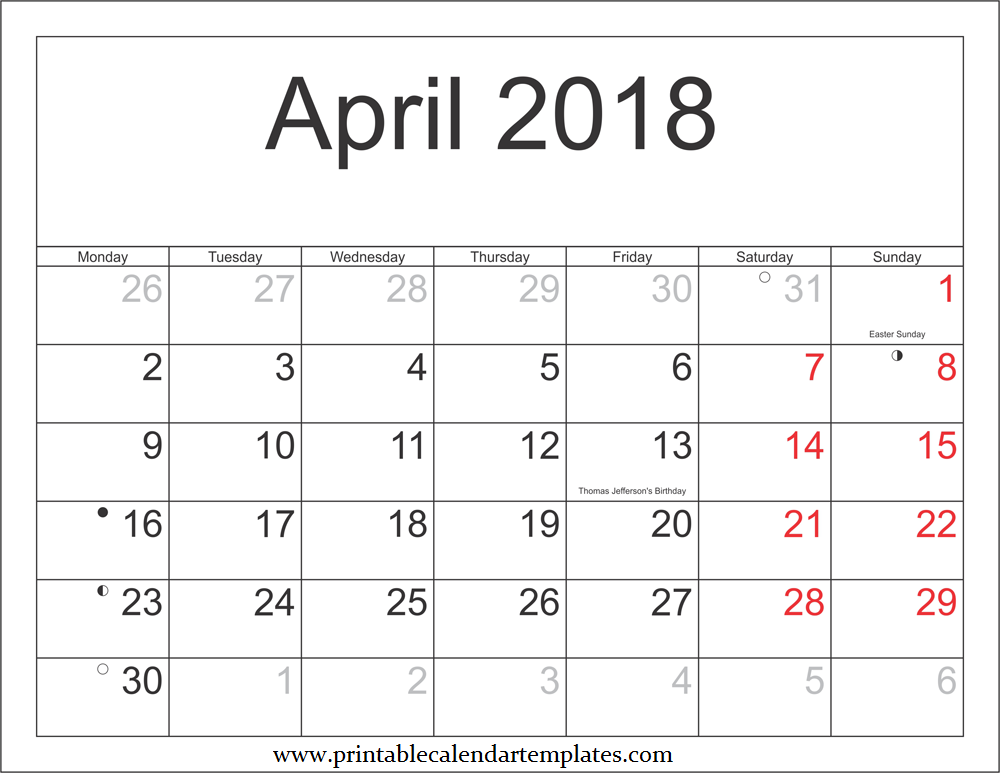 2018-April-Printable-Calendar